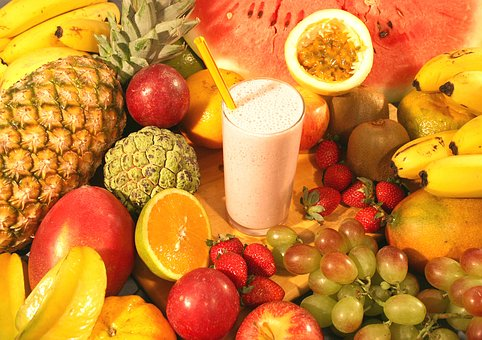 variety of fruits and smoothie