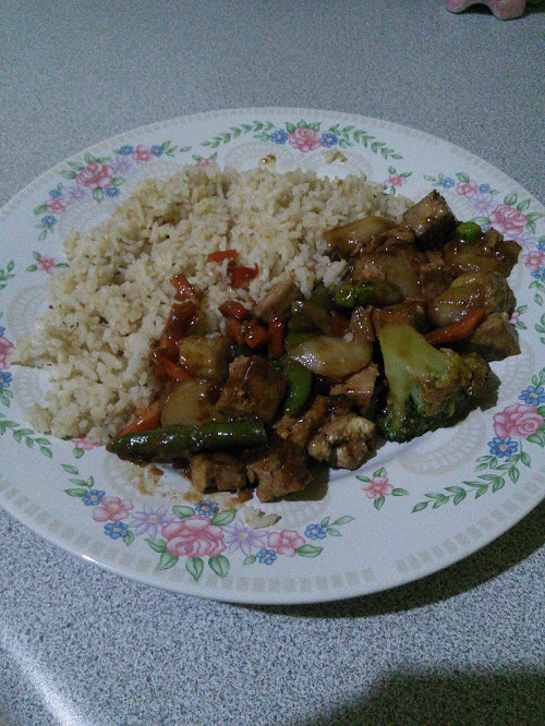 tofu veggie stir fry and rice